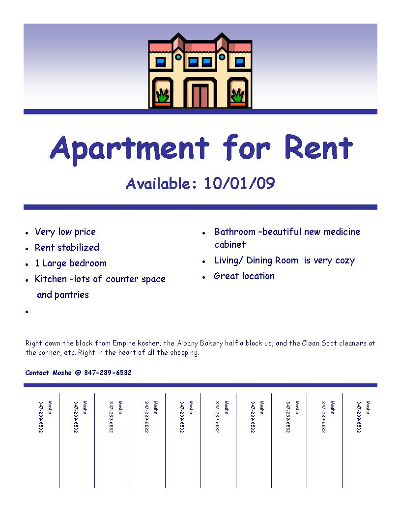apartment for rent flyer template .