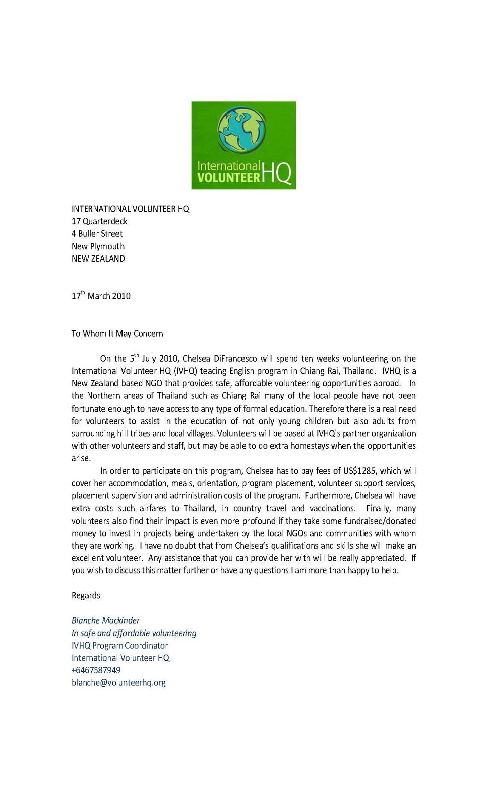 Volunteer Confirmation Letter Example Image Gallery Hcpr