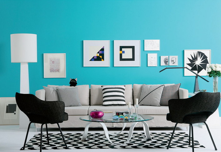 Black White & Teal Living Room