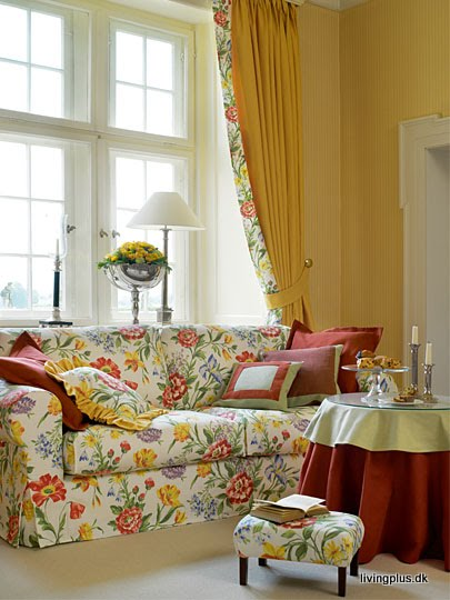 Red and Yellow Living Room Curtains