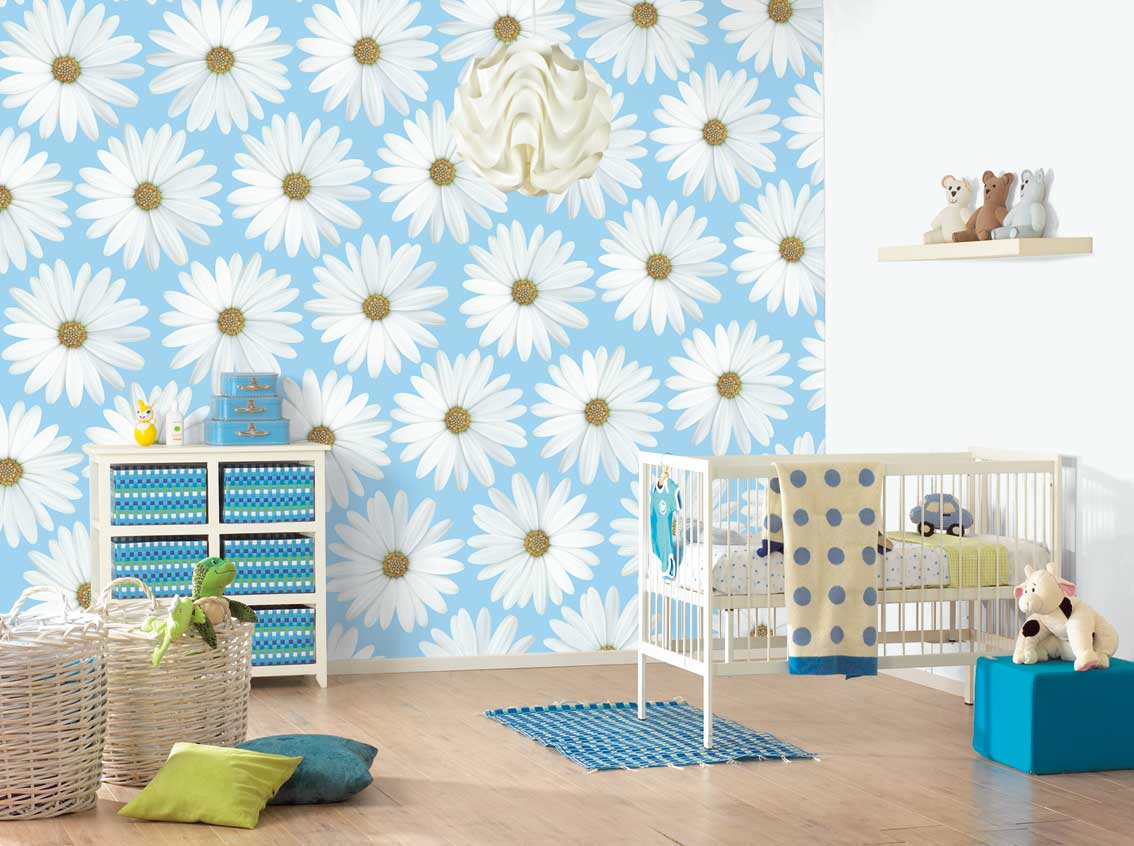 6 lovely wall design ideas for kid 39 s roominterior - Blue bedroom wallpaper ideas ...