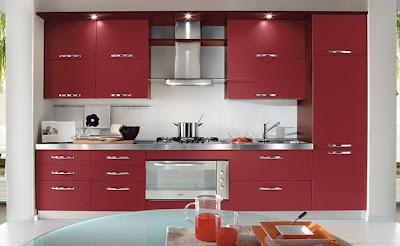 Modern kitchen designs in red for Indian style open kitchen design