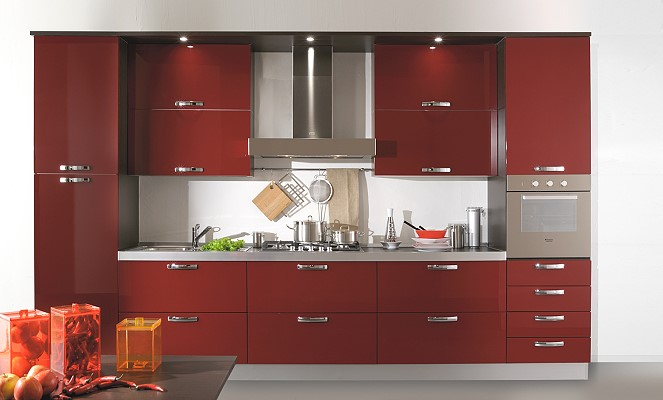 Home christmas decoration modern kitchen designs in red for Eye level oven kitchen designs