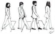 desenho atravessando a rua com um pessoalzinho
