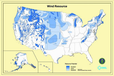 US wind resource potential. Picture shows excellent resource potential ...