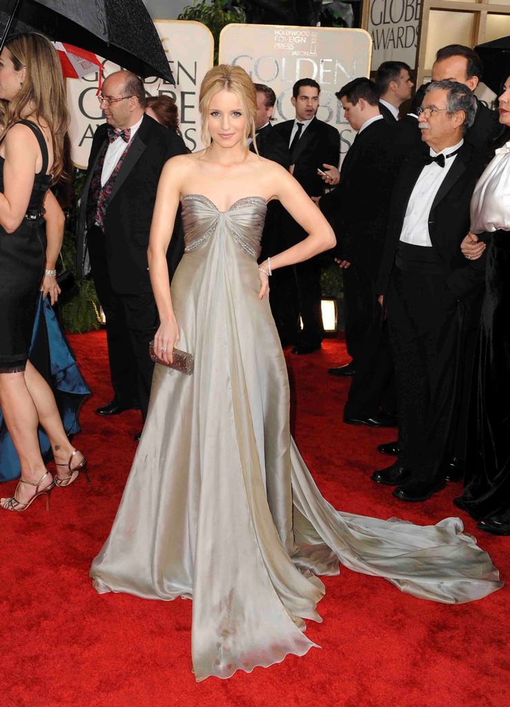 Dianna Agron Fabulous Look in Strapless Grey Gown at 2010 Golden Globe