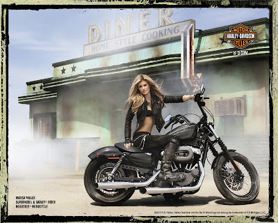 Marisa Miller in Sexy Rider Photo Shoot Session for Harley Davidson Big Motorcycle 2010 Campaign