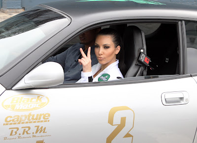 Kim Kardashian on Beautiful Flag Girl Model for the AMP Energy Bullrun Rally in New York City