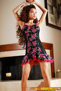 Francine Dee as a Beautiful Salsa Dancer in Pretty Floral Dance Costume Model Photoshoot Session