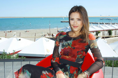 Jessica Alba in Artistic Darkness Rose Floral Dress Fashion Model Photo Shoot Session