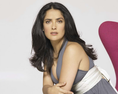 Salma Hayek in Charming Stone Gray Sleeveless Halter Dress Fashion Model Photo Shoot Session