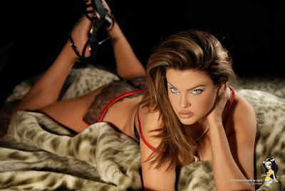 Dana Hamm in Graceful Sexy Red Black Fashion Model Photo Shoot Session