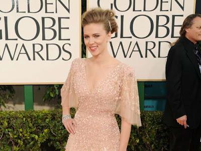 Scarlett Johansson in Beaded Elie Saab Gown at 2011 Golden Globe Awards