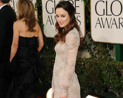 Leighton Meester in Cream Ruched Burberry Gown at 2011 Golden Globe Awards