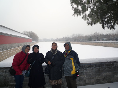 The white expanse behind us is the moat, now frozen solid, encircling