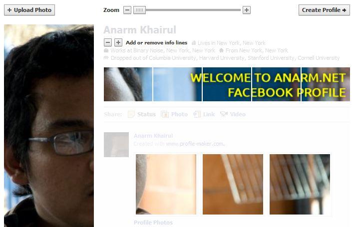 Langkah-langkah buat facebook profile lebih kacak