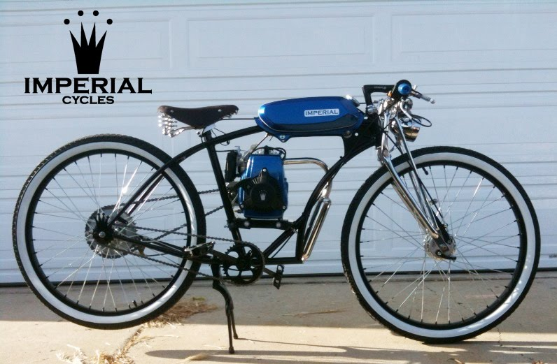 ... Jack Recieves This Beauty Of A Bike I Dubbed Azul. Custom Shorty Fatz  Imperial Cycles Frame, 4 Stroke Engine, Metal Flake Board Tracker Gas Tank,  ...