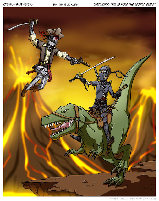 Ninja zumbi montado em velociraptors contra piratas cibernéticos futuristas