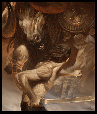 Justin Gerard Illustration oil digital theseus battle fight the minotaur