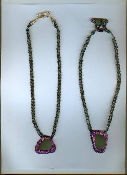 dark green beach glass with purple beads