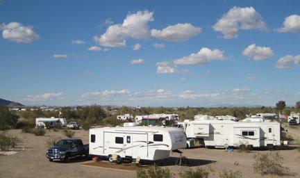Boondocking on public lands near Quartsite, Arizona.