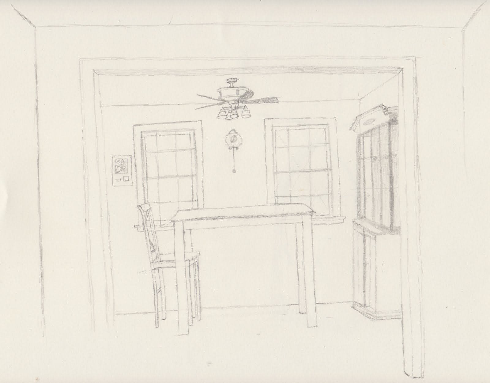 How To Draw A Dining Room Table drawing of a red table