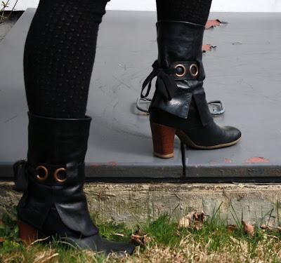 ankle-tie boots, Fluevog, heels, OTK socks