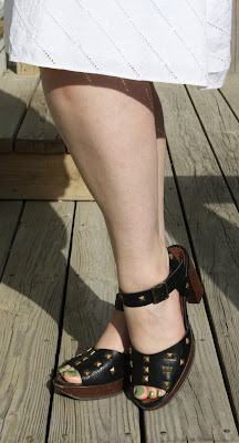 John Fluevog, Summertime, studded sandals, eyelet skirt