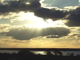 sunset over lake hart
