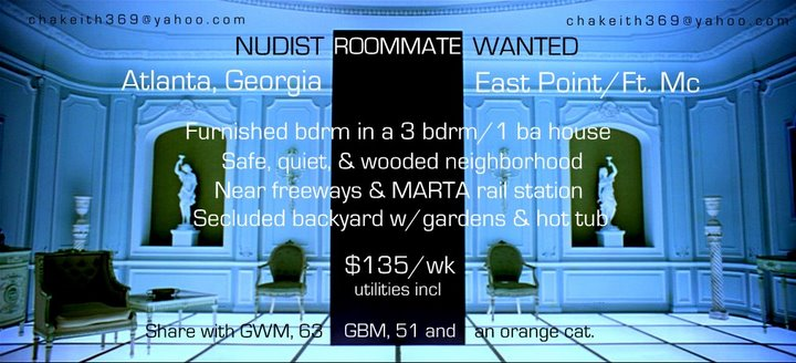"""Nudist Roommate Wanted (photo: Kubrick's """"2001"""")"""