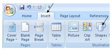Belajar komputer belajar internet membuat tanda panah di jika sobat ingin membuat tanda panah di microsoft word 2007 silahkan klik menu insert kemudian kliklah menu hapes ccuart Gallery