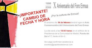 Cambio fecha homenaje X aniversario Foro Ermua