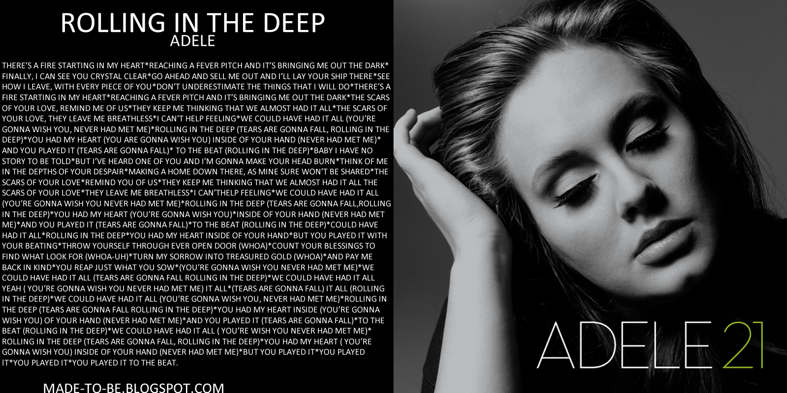 Adele Rolling In The Dep | beta pics Rolling In The Deep Lyrics