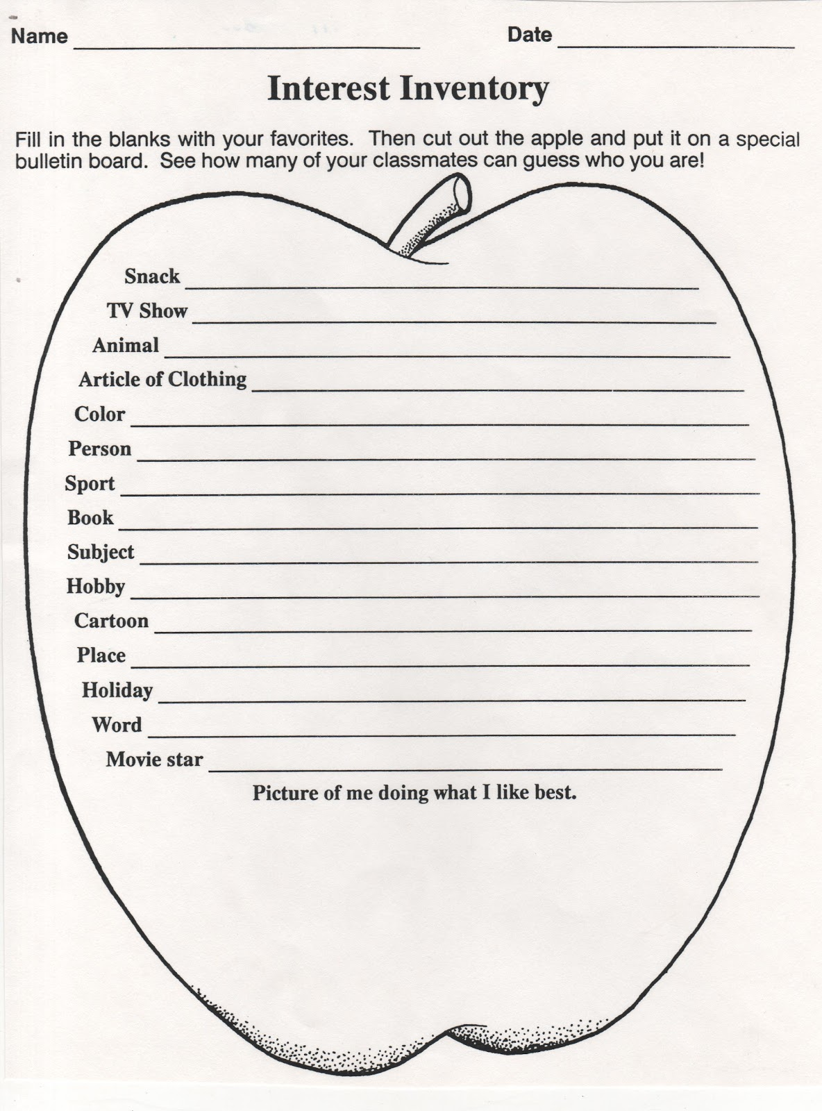 Zany image for interest inventory for elementary students printable