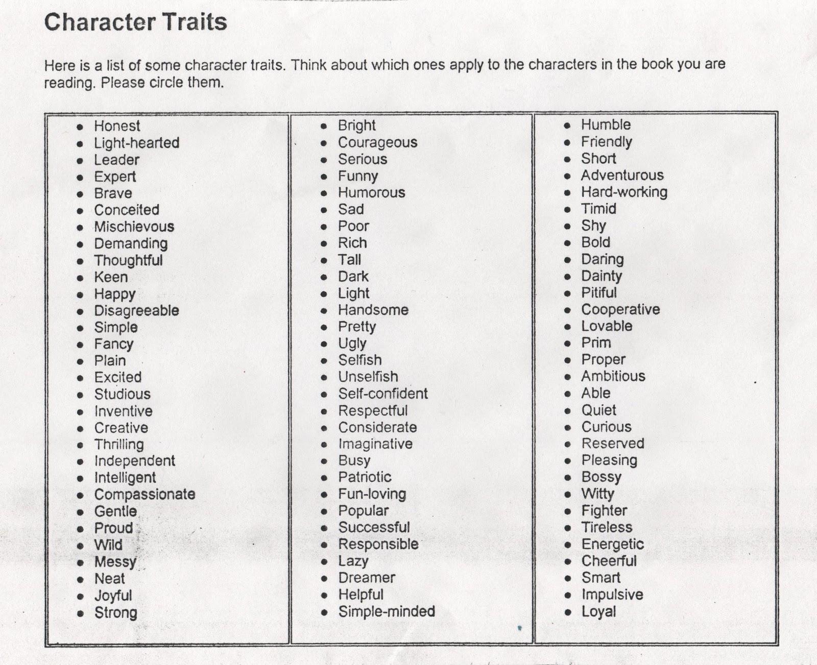character traits list printable images