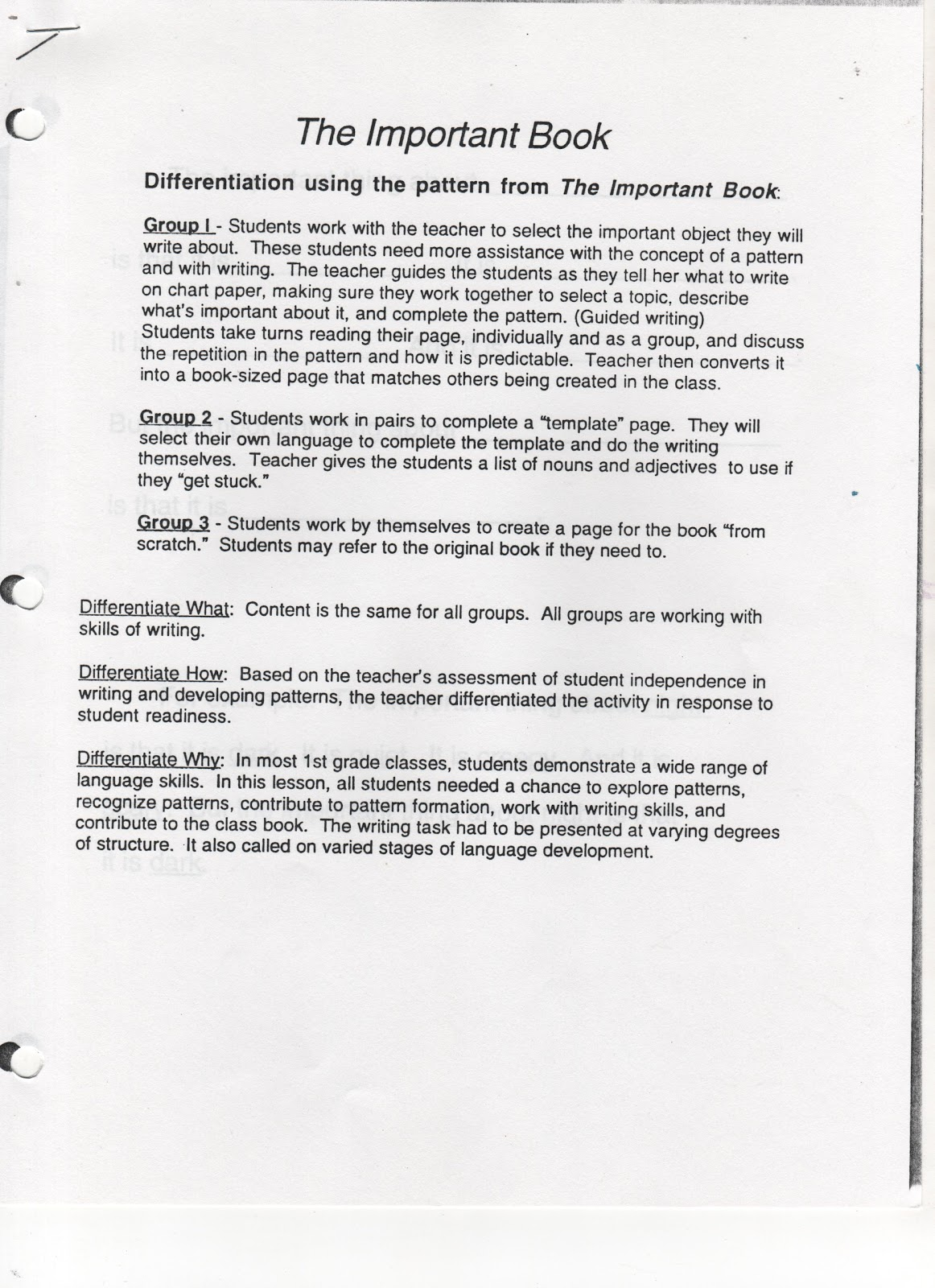 ELEMENTARY SCHOOL ENRICHMENT ACTIVITIES: THE IMPORTATNT BOOK