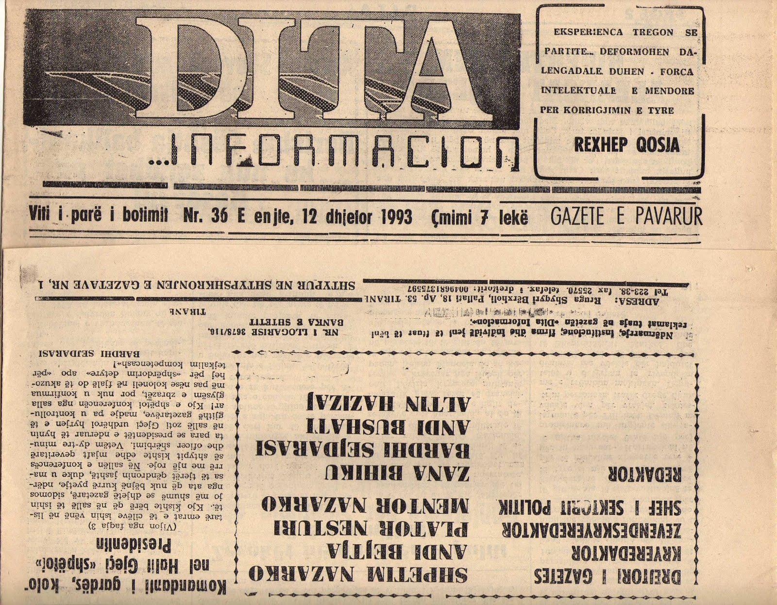 24.04.1993, Gazeta Zeri i Rinise - Heronjte pa histori nga Vincenso