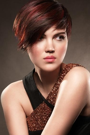 Short Hairstyle with Red Colour Highlights
