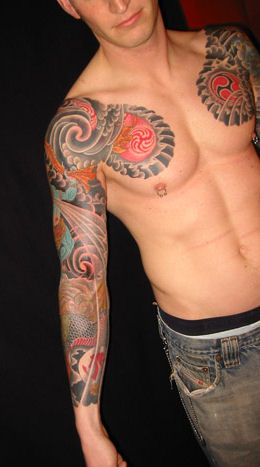 bio biomechanical and skulls arm sleeve tattoo picture