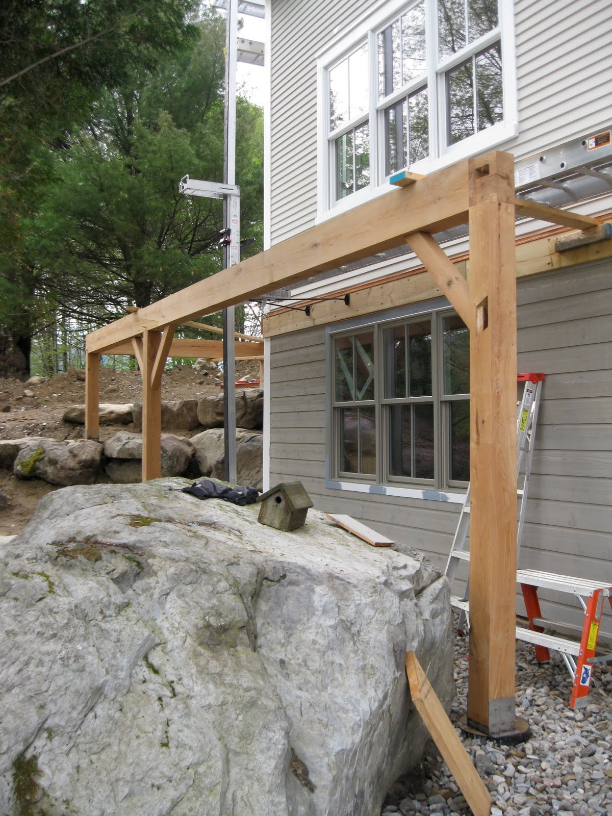 New vermont farmhouse timber frame deck support for Which timber for decking