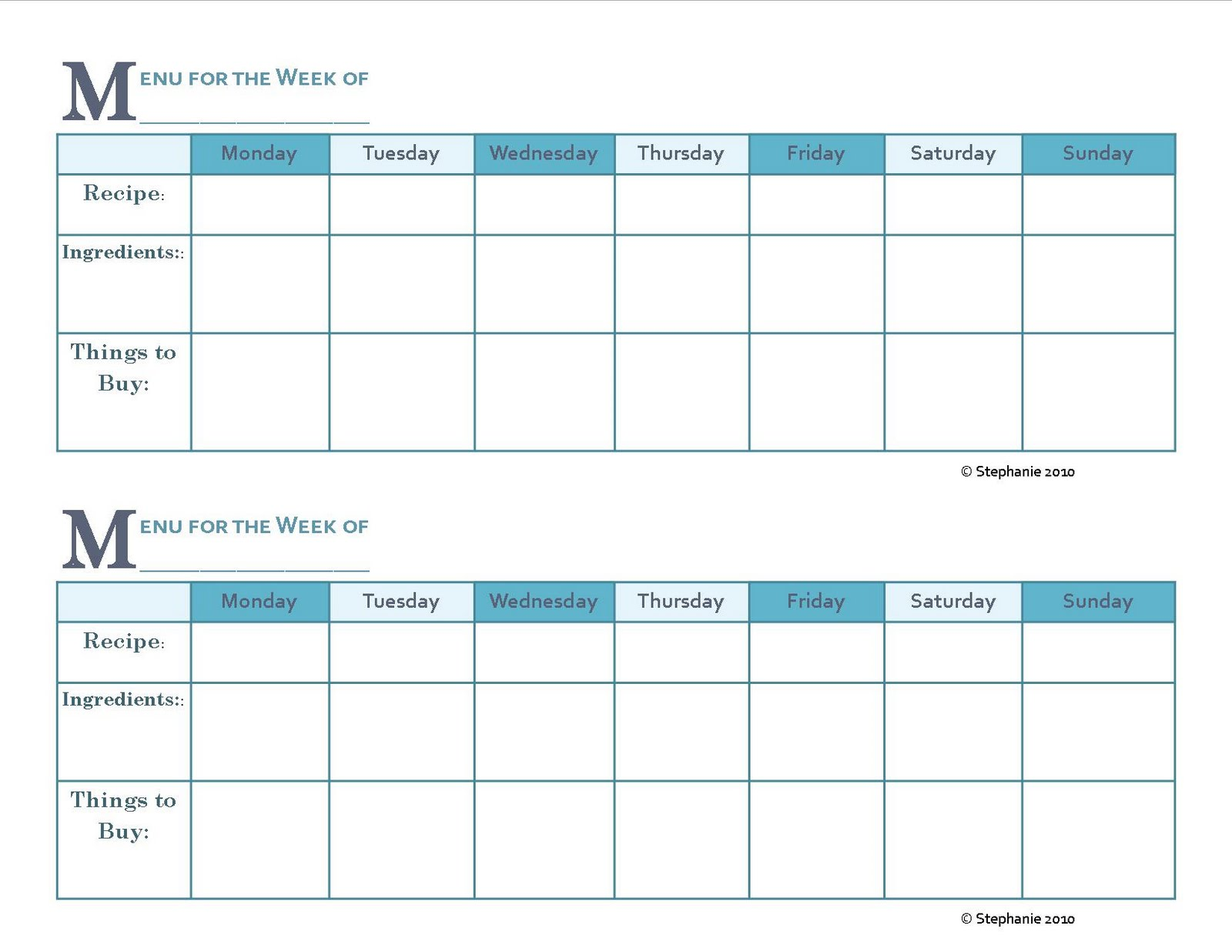 monthly menu calendar template .