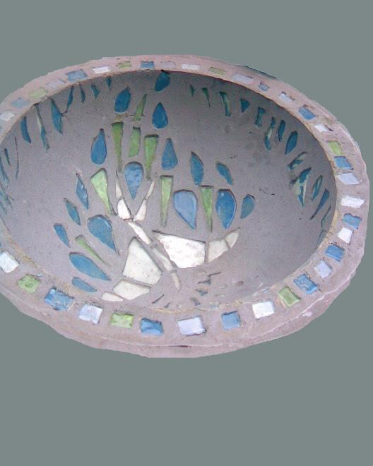 Bacha de cemento y vidrio