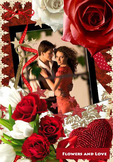 Flowers and Love Frame Photoshop 1 PSD 2000x2900 250 dpi 101 Mb