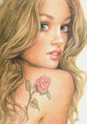 """The Pink Rose Tattoo"" Original ACEO painting"