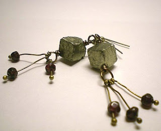 Cosmic Fool earrings, Pyrite and Garnet