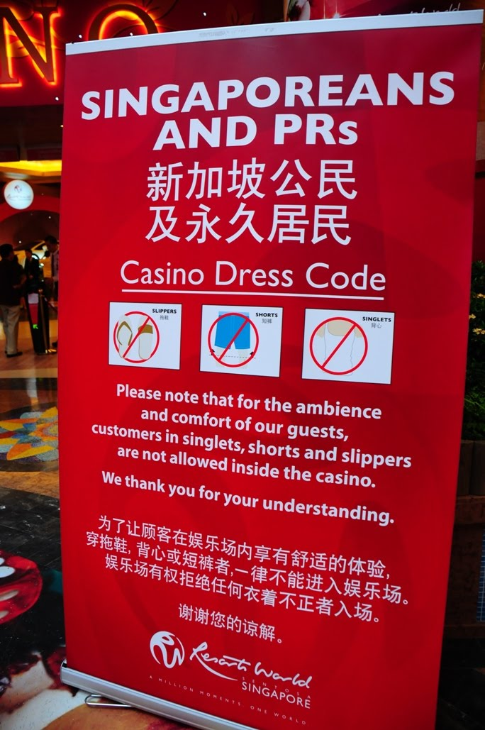 Singapore casino dress code roulette valise dalery
