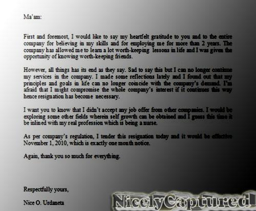 formal letter of resignation. Letter sample resignation