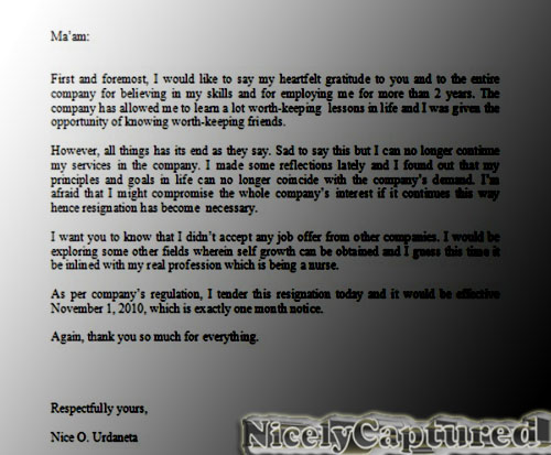 sample letter of resignation acceptance