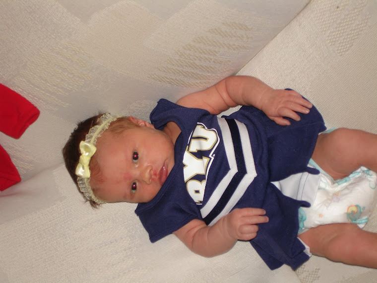 Daddy loved this BYU dress! Too bad it said 6 months on it and it only fit her until 6 weeks.