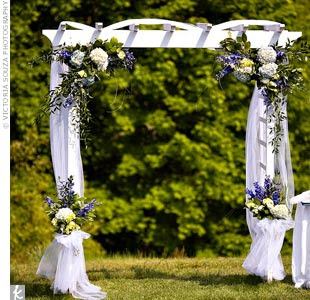 Making our way to the altar for Decorating a trellis for a wedding